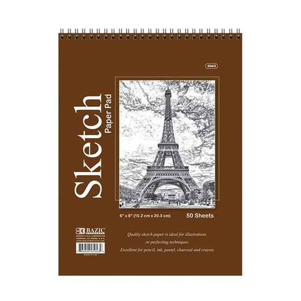 "6"" X 8"" Top Bound Spiral Premium Sketch Pad, 50 sheets"