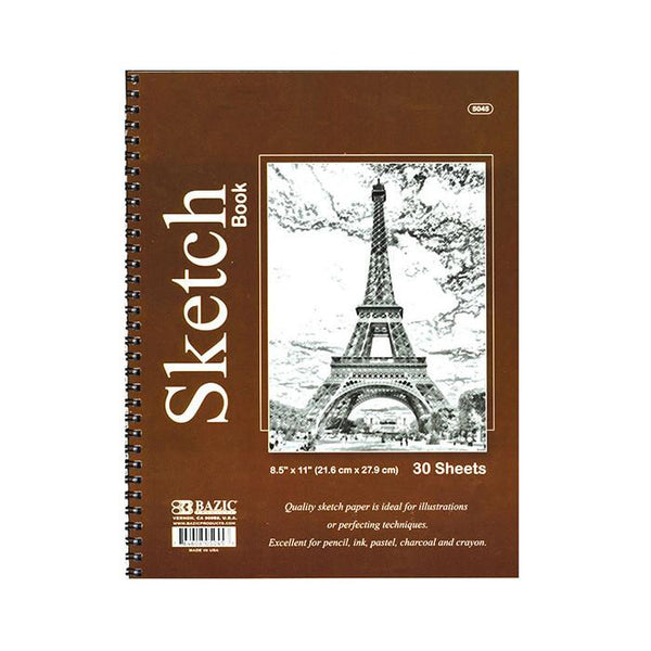 "8.5"" X 11"" Side Bound Spiral Premium Sketch Book, 30 sheets"