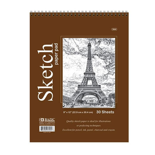 "9"" X 12"" Top Bound Spiral Premium Sketch Pad, 30 sheets"