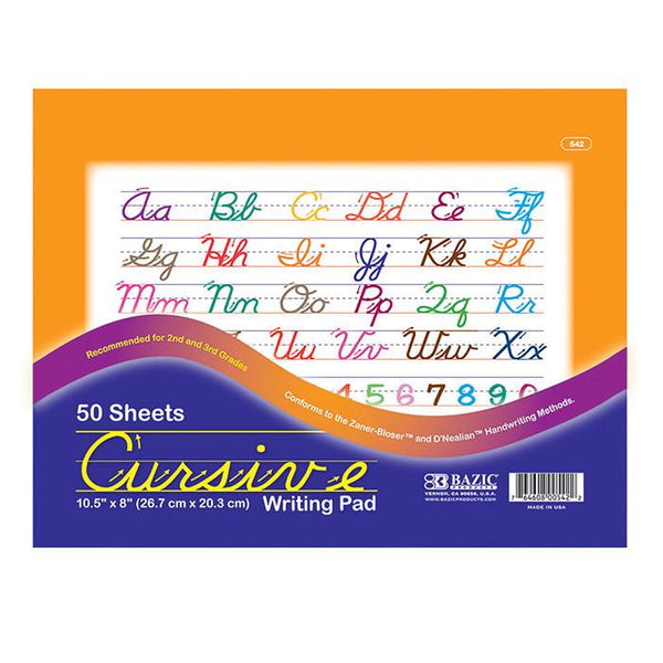 "10.5"" X 8"" Cursive Writing Pad, 50 sheets"