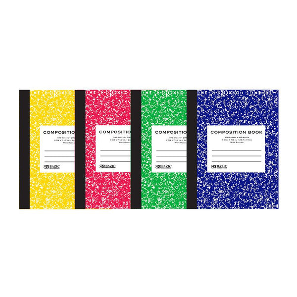 Wide-Ruled 100 Ct. Assorted Color Marble Composition Book, 1-ct.