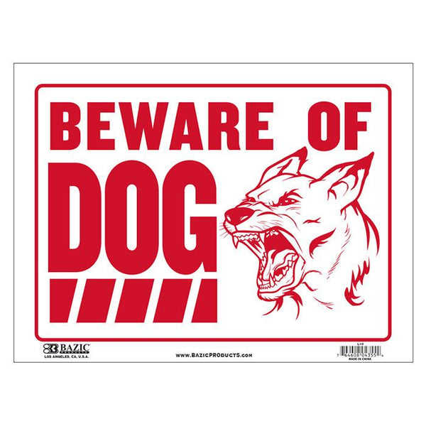"9"" X 12"" Beware Of Dog Sign"
