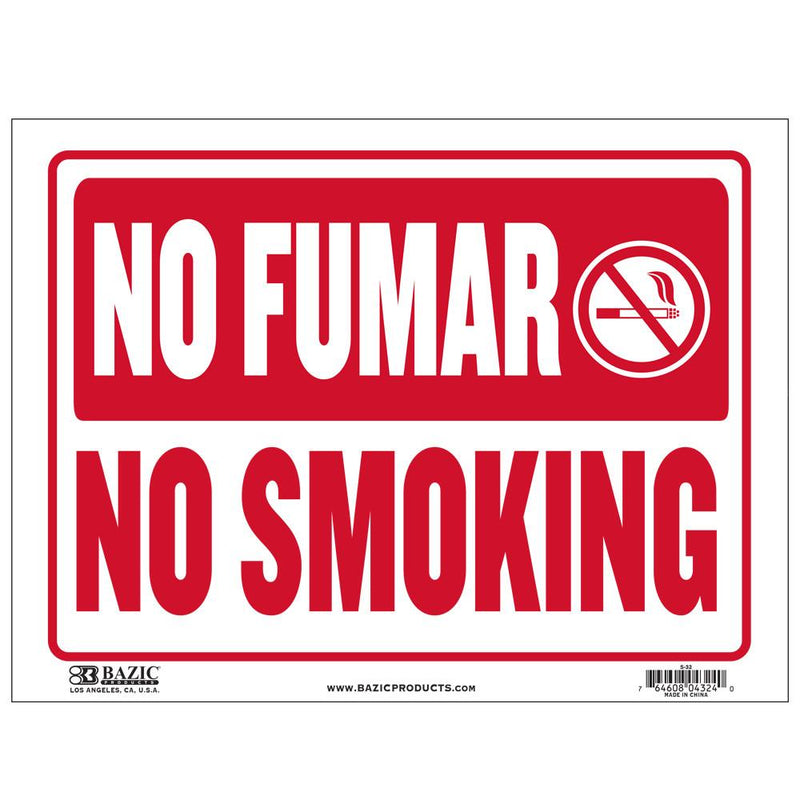 "9"" X 12"" No Fumar Sign"