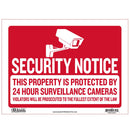 "9"" X 12"" Security Notice Sign"