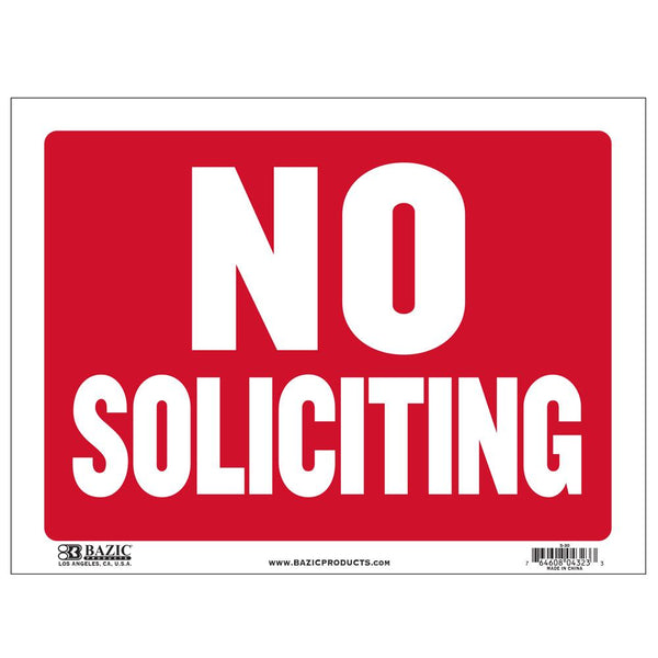 "9"" X 12"" No Soliciting Sign"