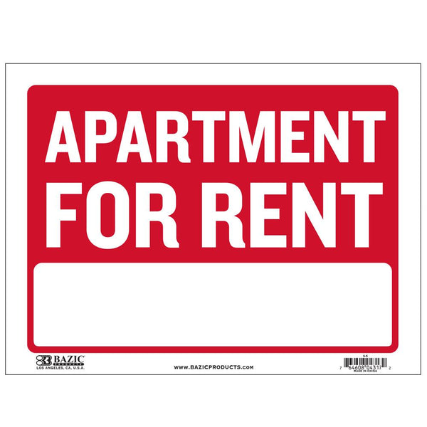 "9"" X 12"" Apartment For Rent Sign"
