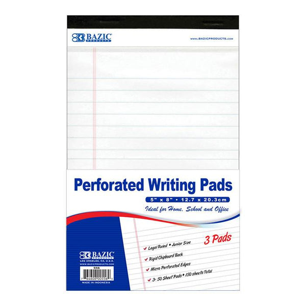 "5"" X 8"" White Jr. Perforated Writing Pad (3/Pack)"