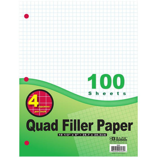 "4-1"" Quad-Ruled Filler Paper"