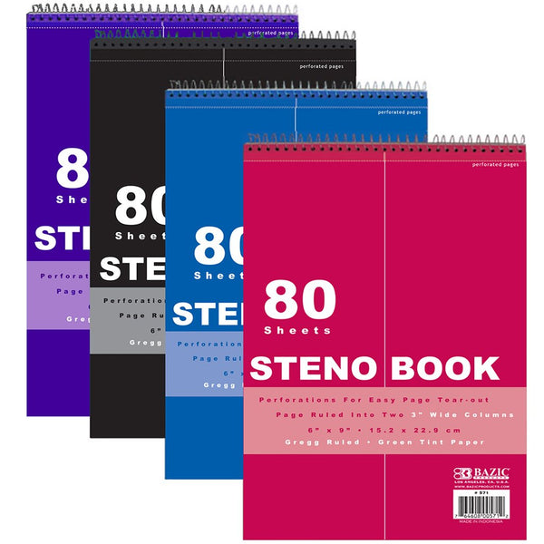 "6"" X 9"" Green Tint Gregg Ruled Steno Book, 1-ct."