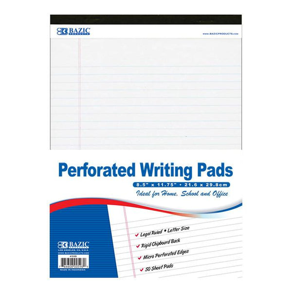 "8.5"" X 11.75"" White Perforated Writing Pad"