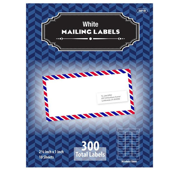 "1"" X 2 5/8"" White Address Labels (300/Pack)"