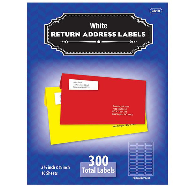 "3/4"" X 2 1/4"" White Return Address Labels (300/Pack)"
