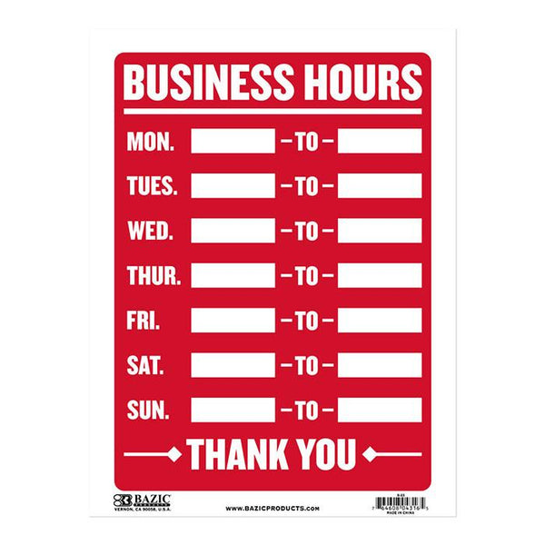 "9"" X 12"" Business Hours Sign"