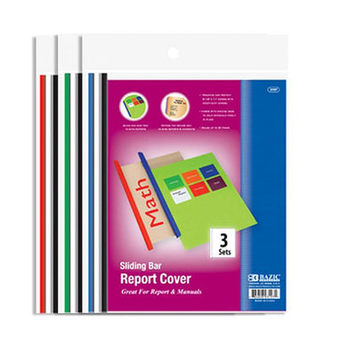 Clear Front Report Covers W/ Sliding Bar (3/Pack), 1-pack