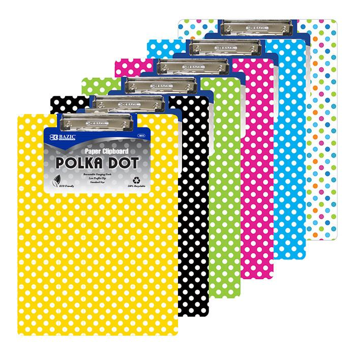 Standard Size Polka Dot Paperboard Clipboard W/ Low Profile Clip, 1-ct.