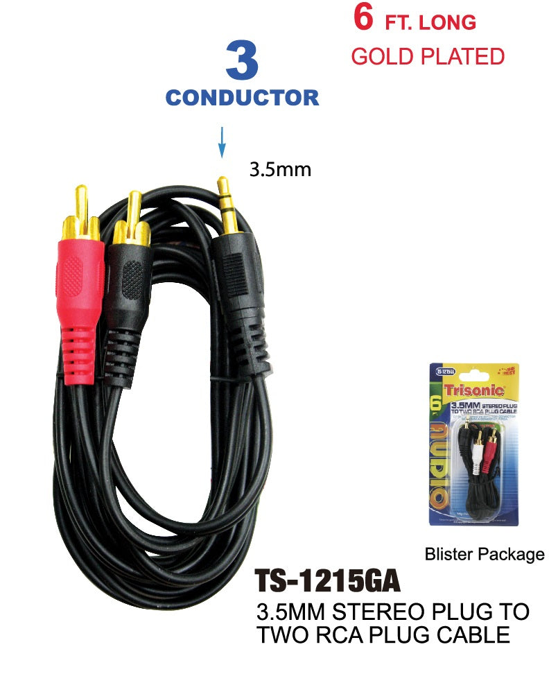 3.5mm Stereo Plug to 2 RCA Plug Cable, 6 ft.