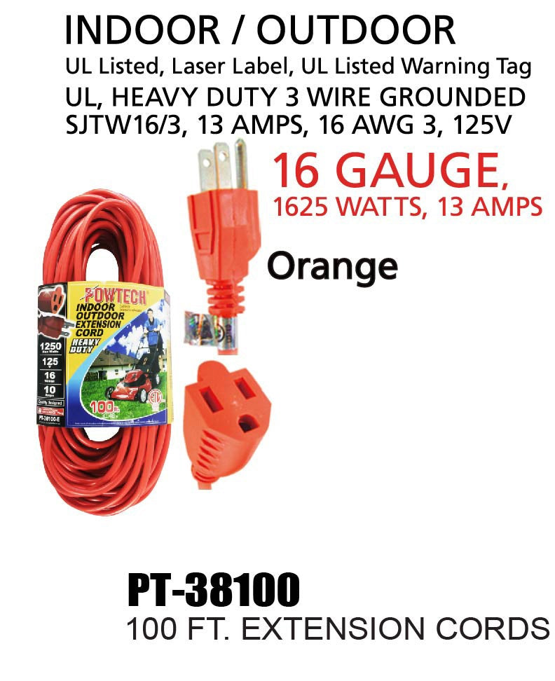 Indoor Outdoor Extension Cord Heavy Duty 16 Gauge, 100 ft.