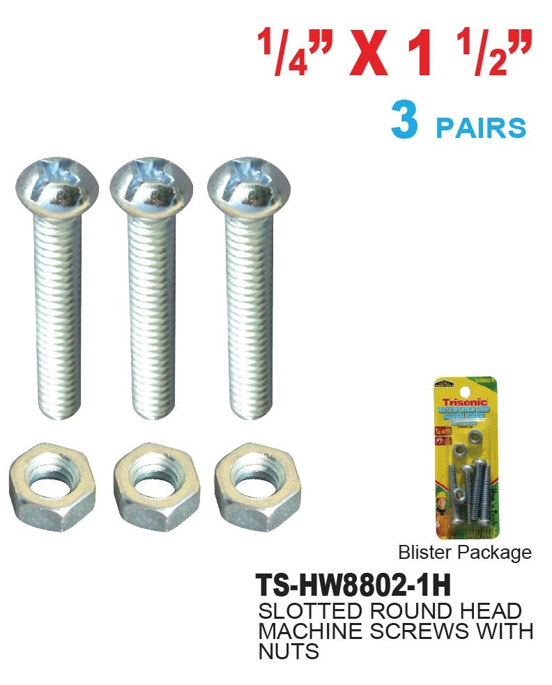 "1/4"" x 1 1/2"" Slotted Round Head Machine Screws With Nuts, 4 Pairs"