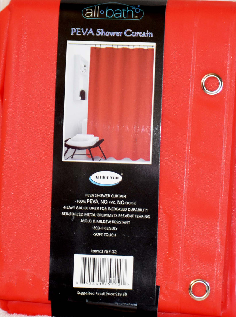 "All Bath Shower Curtain 70"" x 72"" Red Color, 1-ct"