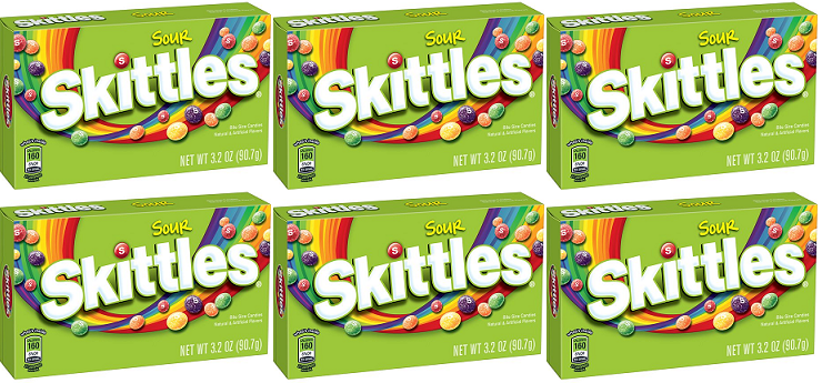 Sour Skittles Bite Size Candies, 3.2 oz (Pack of 6)