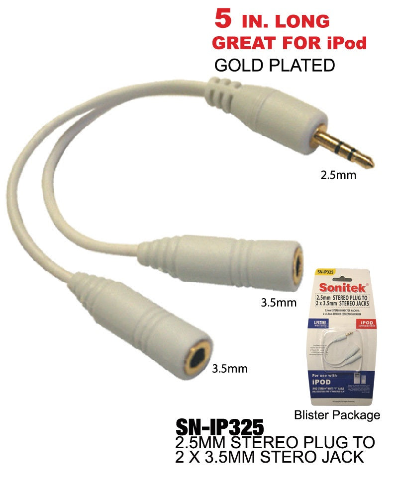 2.5 mm Stereo Plug to 2 x 3.5 mm Stereo Jack, Gold Plated, iPod Compatible