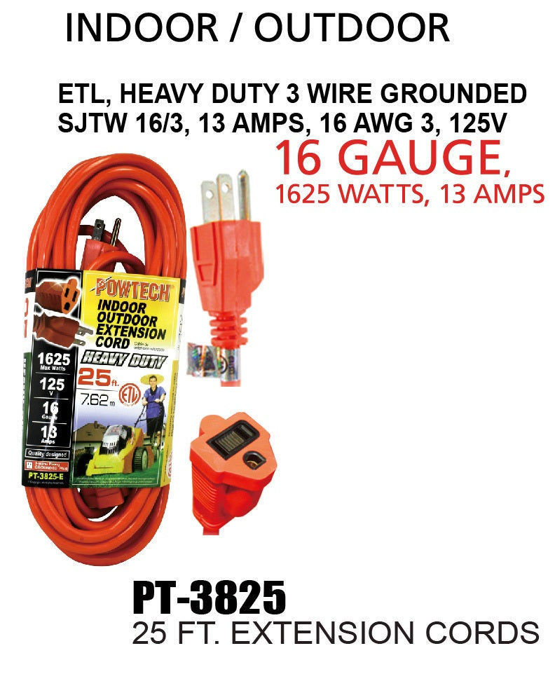 Indoor Outdoor Extension Cord Heavy Duty 16 Gauge, 25 ft.