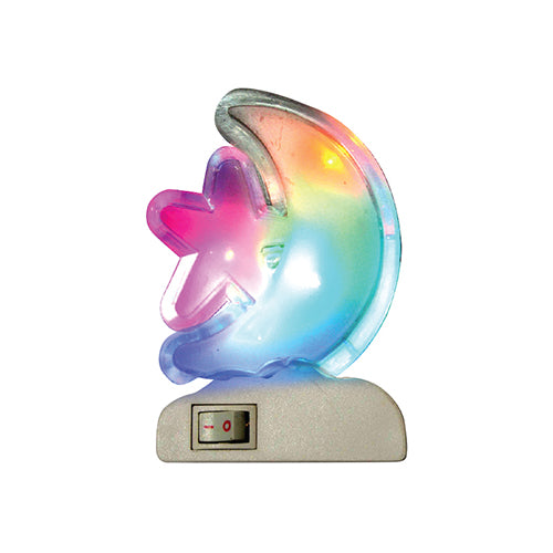 Multi-color LED Night Light, 0.5 Watts, Star Moon Design