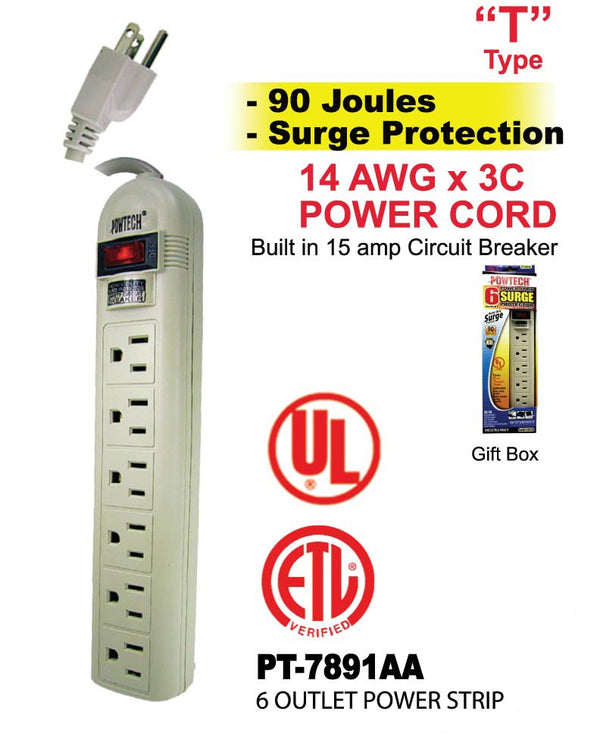6 Outlet Power Strip Surge Protector