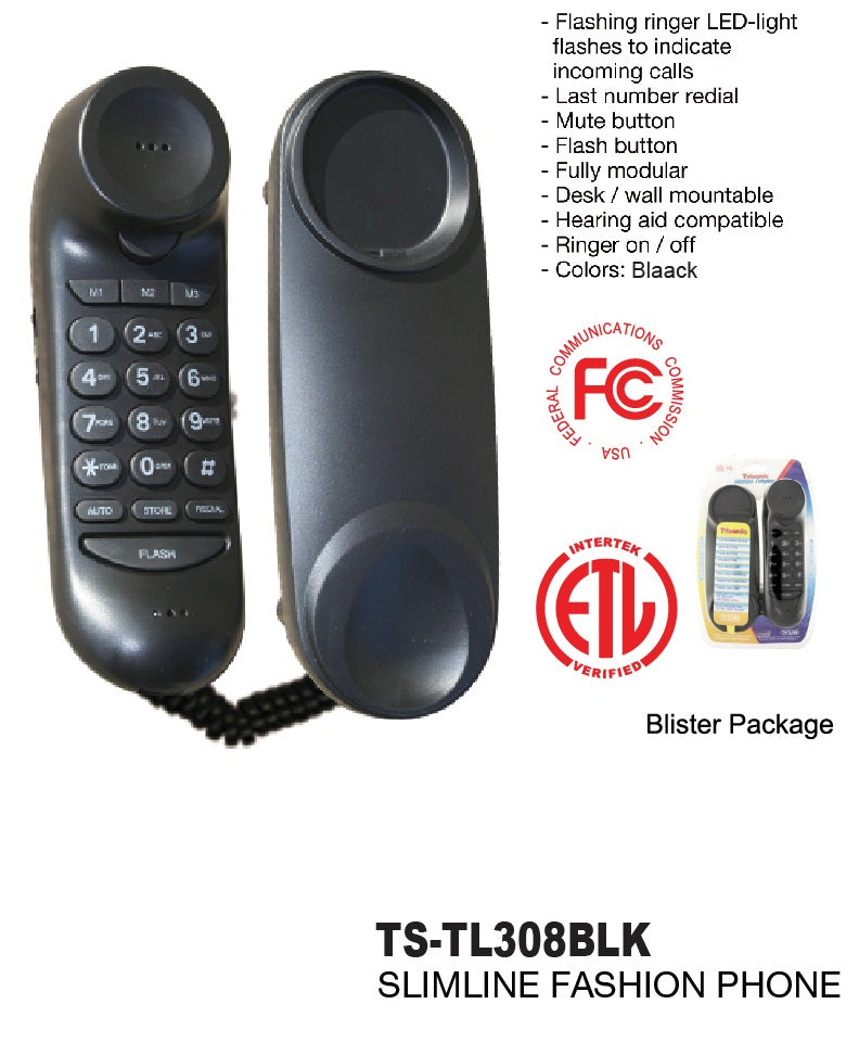 Black Slimline Telephone