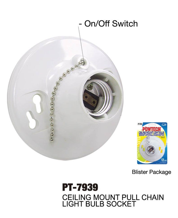 Ceiling Mount Light Bulb Socket With Pull Chain Switch