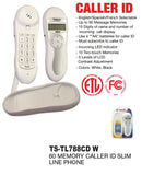Slim Line Phone With Memory Caller ID, White