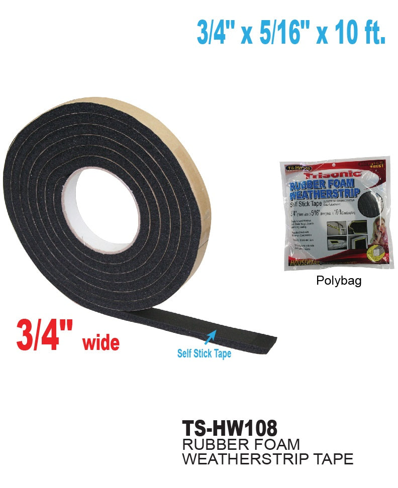 Rubber Foam Weatherstrip Self Stick Tape