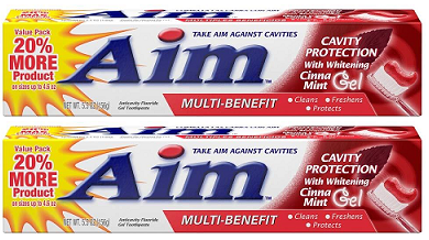 Aim Cavity Protection w/ Whitening Cinna Mint Gel Toothpaste, 5.5 oz (Pack of 2)