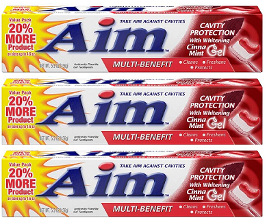 Aim Cavity Protection w/ Whitening Cinna Mint Gel Toothpaste, 5.5 oz (Pack of 3)