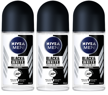 Nivea Black & White Invisible Original Anti-Perspirant Deo Roll on, 50 ml (Pack of 3)