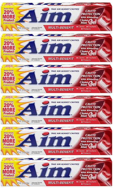 Aim Cavity Protection w/ Whitening Cinna Mint Gel Toothpaste, 5.5 oz (Pack of 6)