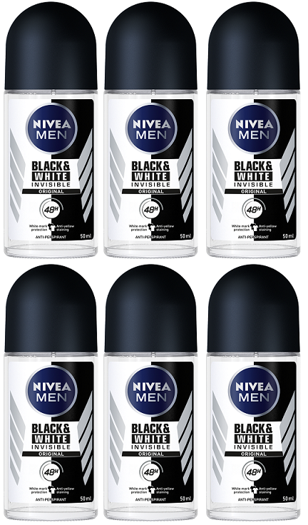 Nivea Black & White Invisible Original Anti-Perspirant Deo Roll on, 50 ml (Pack of 6)