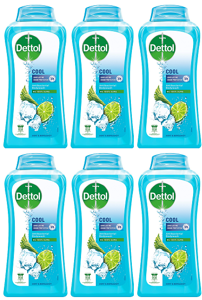 Dettol Cool Long Lasting Cooler Protection Antibacterial Body wash, 100 gm (Pack of 6)