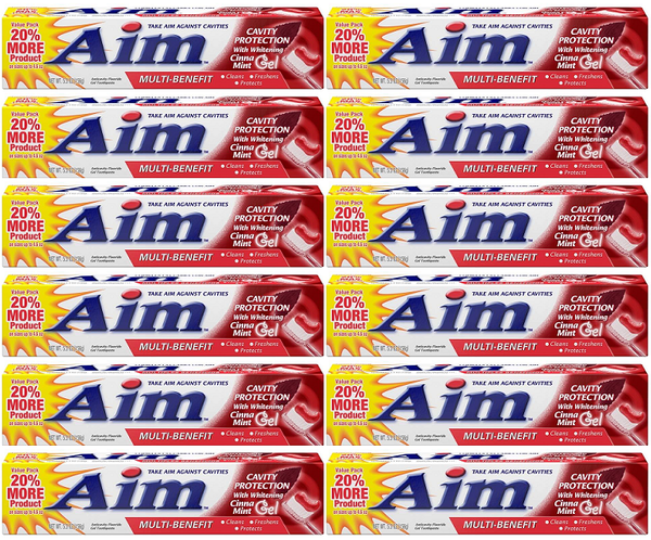 Aim Cavity Protection w/ Whitening Cinna Mint Gel Toothpaste, 5.5 oz (Pack of 12)