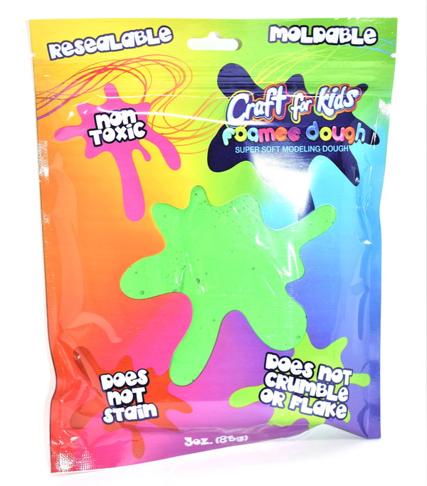 Craft For Kids Foamee Dough Super Soft Modeling Dough, Green Color, 3 oz.