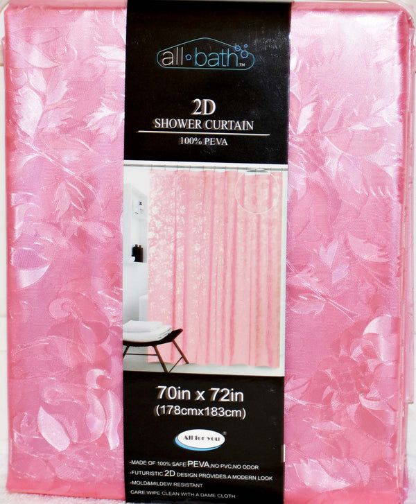 "All Bath 2D Shower Curtain 70"" x 72"" Pink Color, 1-ct"