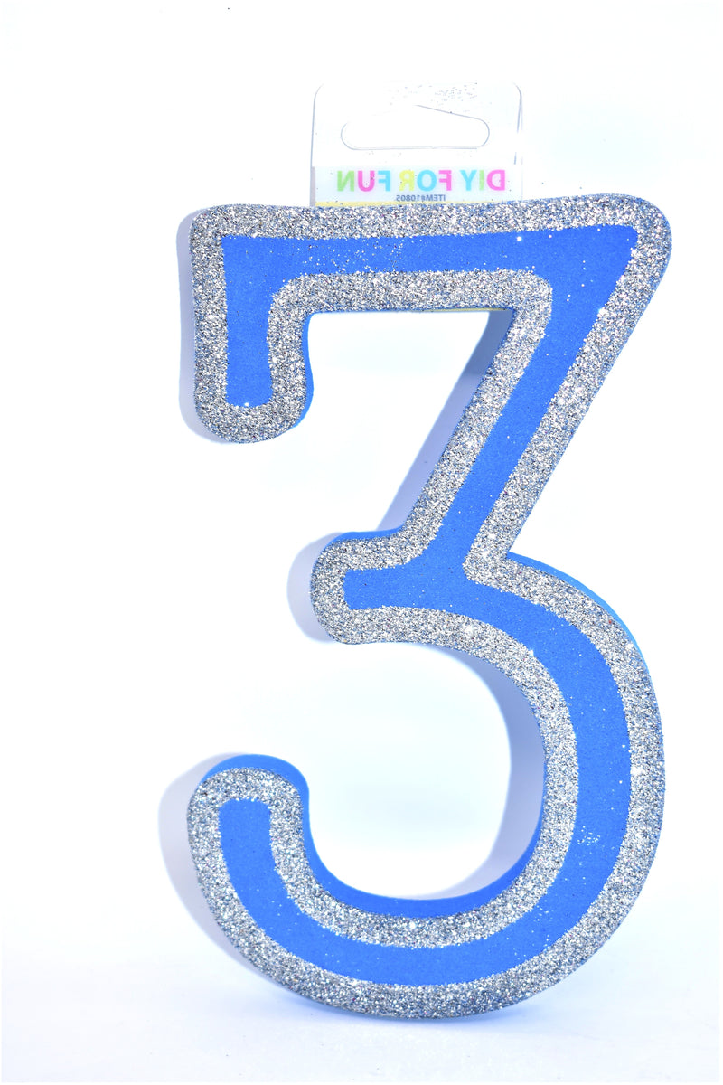 "7"" Blue Glitter Foam Number ""3"""