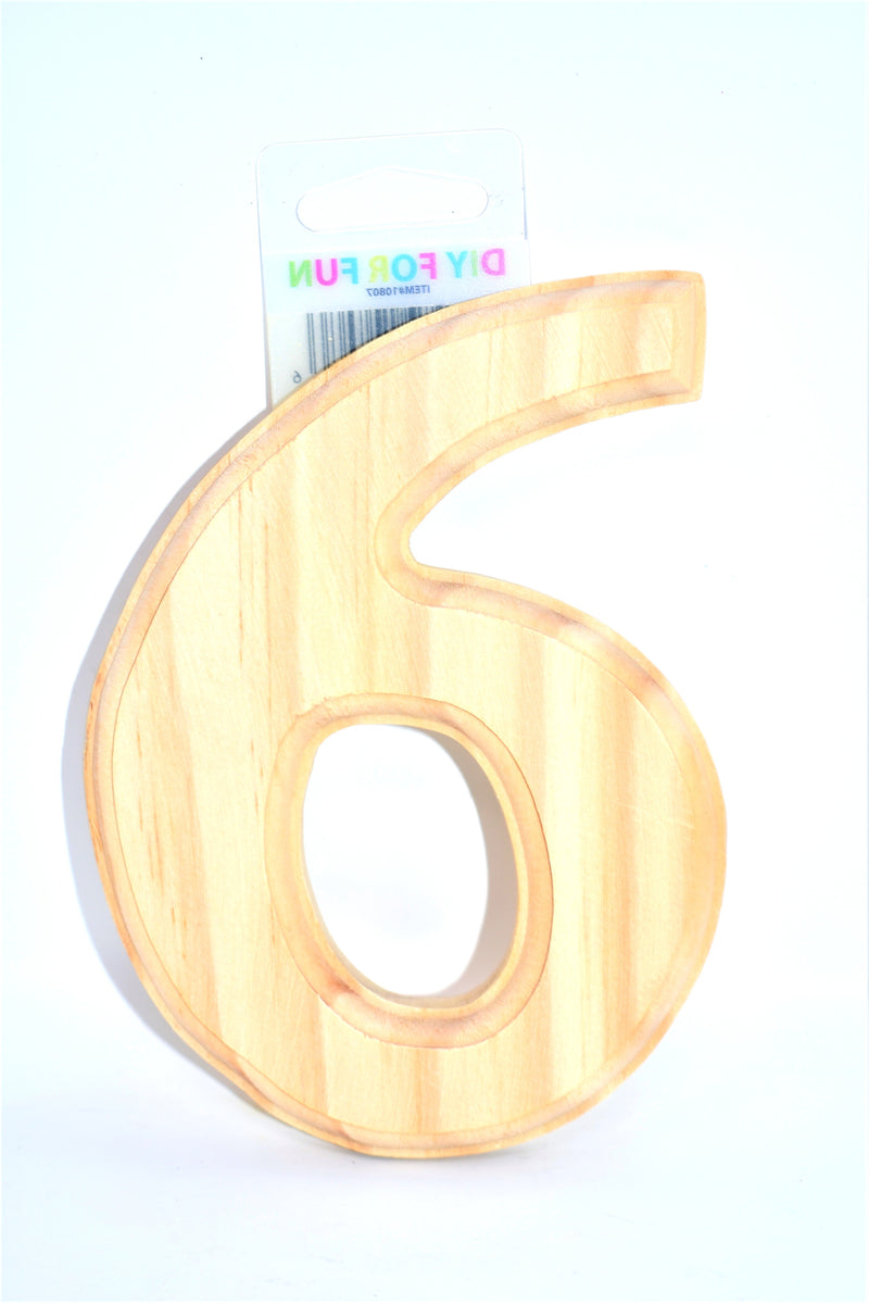 "6"" Wood Crafted Number ""6"""