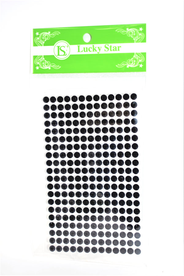 Acrylic Circle Rhinestone Stickers, Black Color, 20 Strips x 13 Stones, 260 ct.