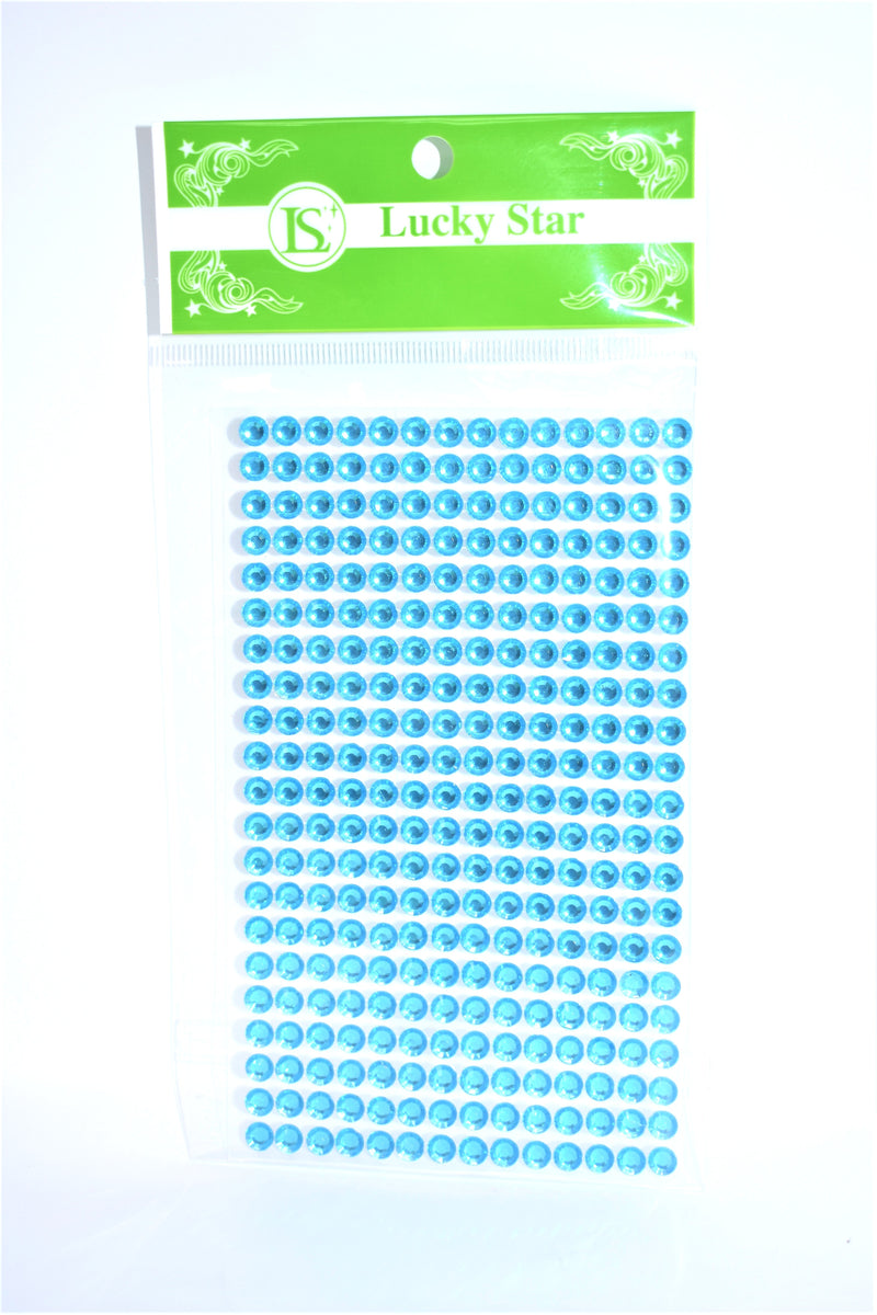 Acrylic Circle Rhinestone Stickers, Turquoise Color, 20 Strips x 13 Stones, 260 ct.