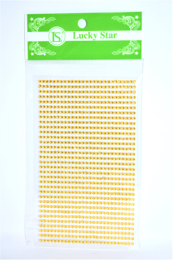 3mm Acrylic Rhinestone Stickers, Gold Color, 33 Strips x 27 Stones, 891 ct.