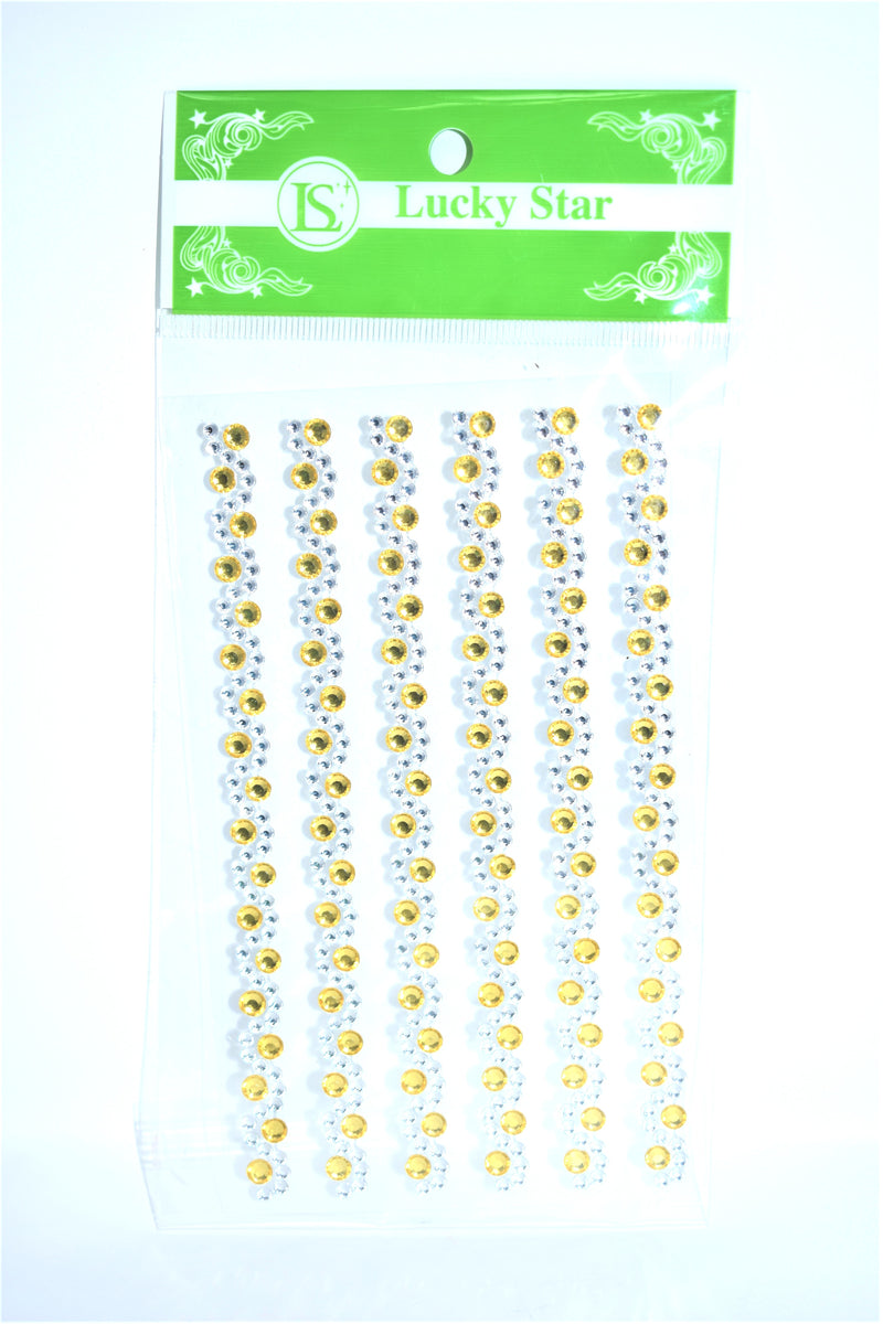 Swirl Rhinestone Stickers, Gold Color, 6 ct.