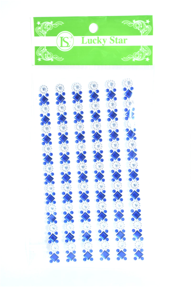 Rhinestone Diamond Pattern Embellishment Stickers, Royal Blue Color, 6 ct.