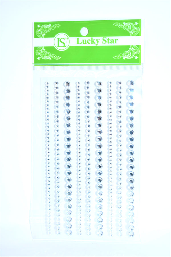 Rhinestone Circle Assortment Stickers, Silver Color, 9 ct.