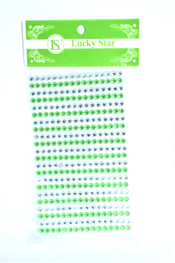 Rhinestone Two Color Stickers, Apple Green Color, 22 ct.
